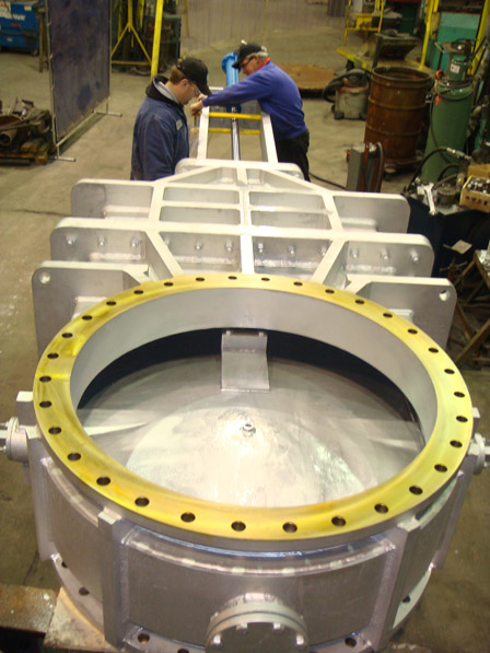 TESTING 63inch CHIMNEY VALVE FABRICATED, STRESS RELIEVED, MACHINED, ASSEMBLED & TESTED